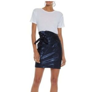 IRO knotted leather metallic mini skirt navy blue
